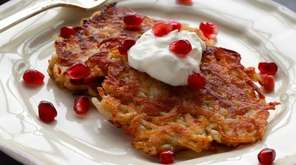 Potato latkes made with apple and cinnamon give