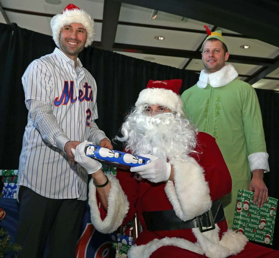 Steven Matz played Santa Claus alongside his elf,