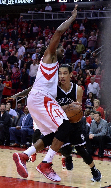 Brooklyn Nets guard Jeremy Lin drives against Houston