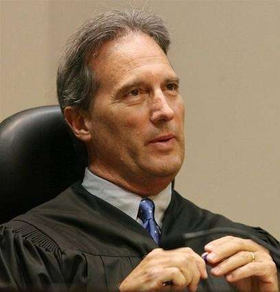 Judge Stan Strickland is shown in court today.