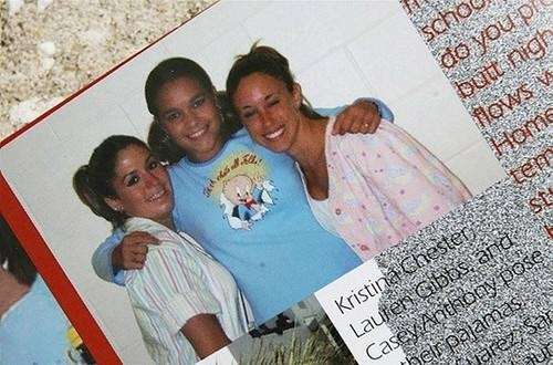 Casey Anthony (right) poses with classmates in a