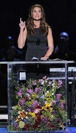 Actress Brooke Shields speaks during the memorial service
