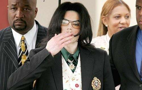 Michael Jackson as he departs the Santa Barbara
