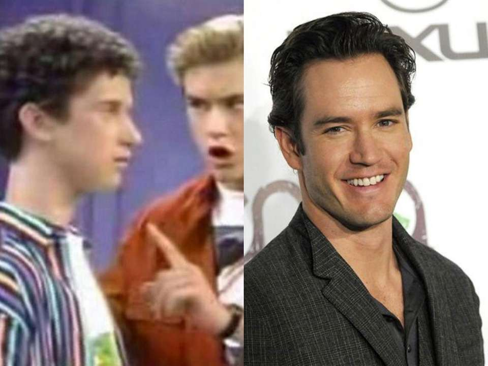 Mark-Paul Gosselaar, right, as Zack Morris on