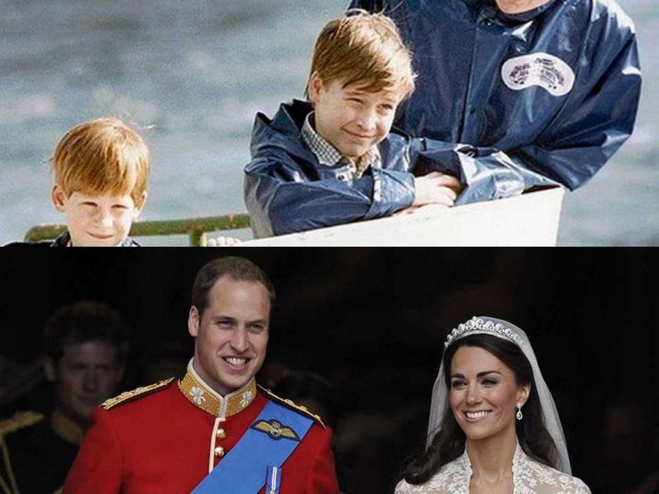 Prince William, center, with mother Princess Diana, and
