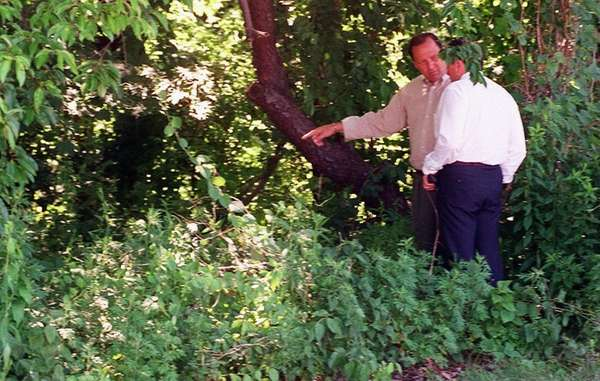 Detectives investigate in the woods where the remains