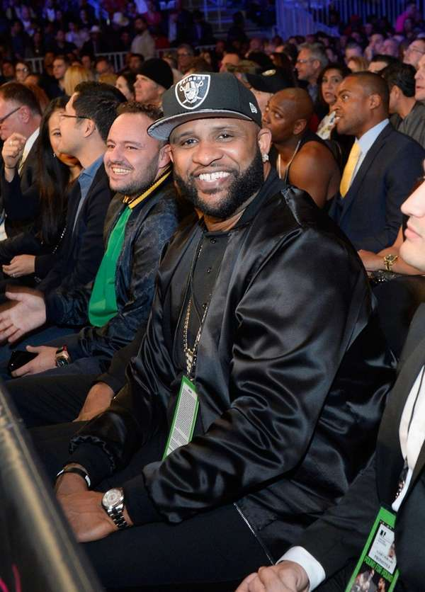 CC Sabathia sits in the audience during Kovalev