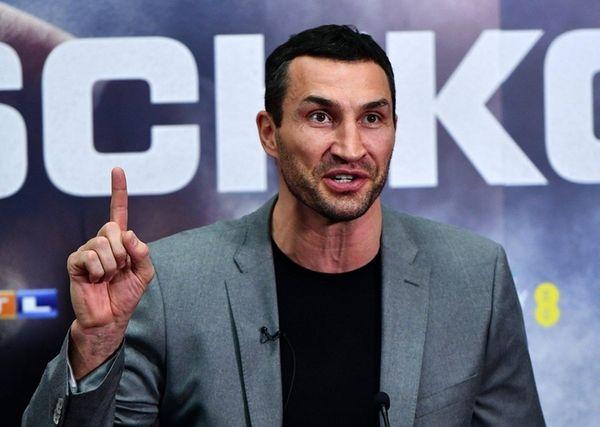 Wladimir Klitschko of Ukraine speaks during a press