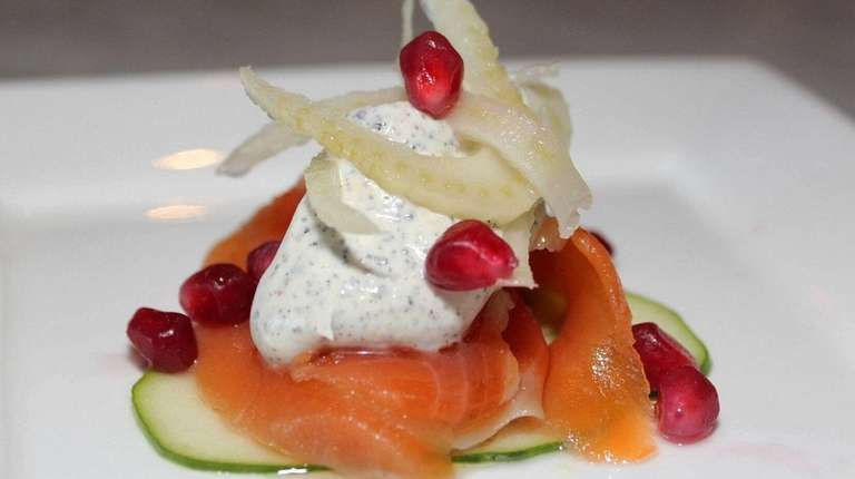 Grappa-cured salmon is dressed with cucumber, radish and