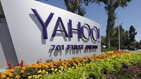 A Yahoo sign at the company's headquarters in