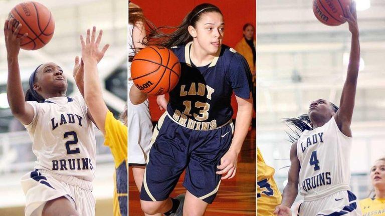 (L-R) Baldwin's Aziah Hudson, Jenna Annecchiarico and Kaia