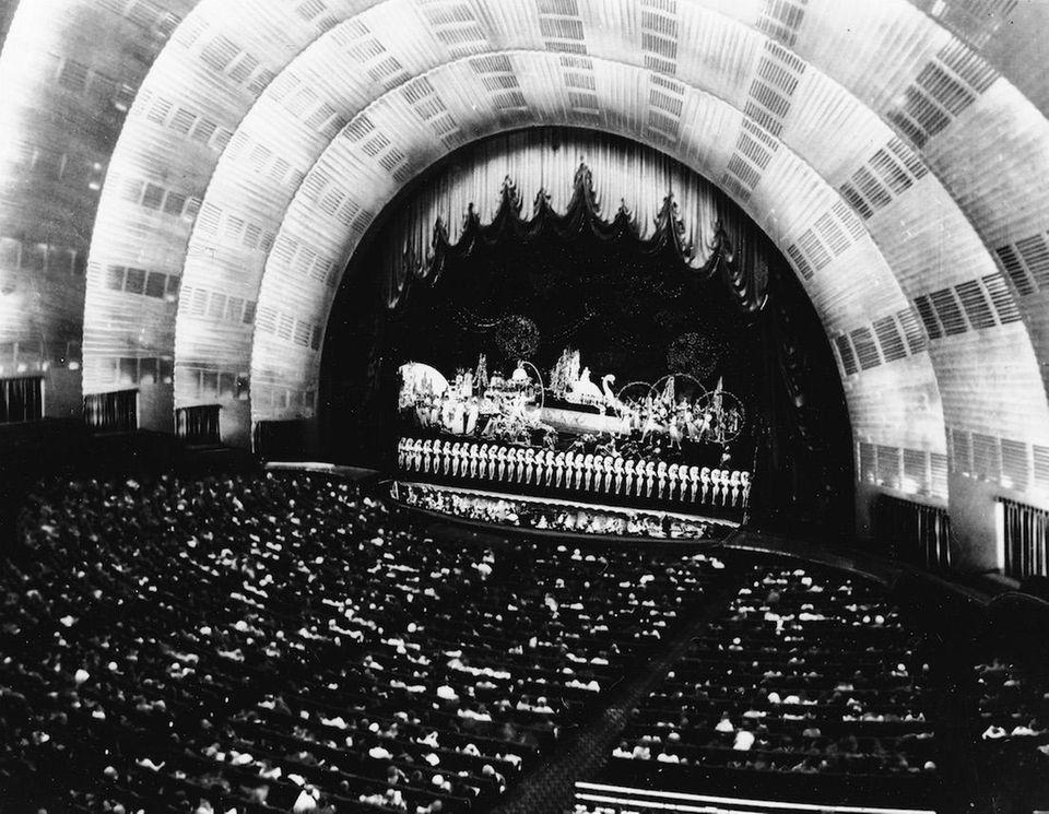 The unique art deco auditorium of Rockefeller Center's