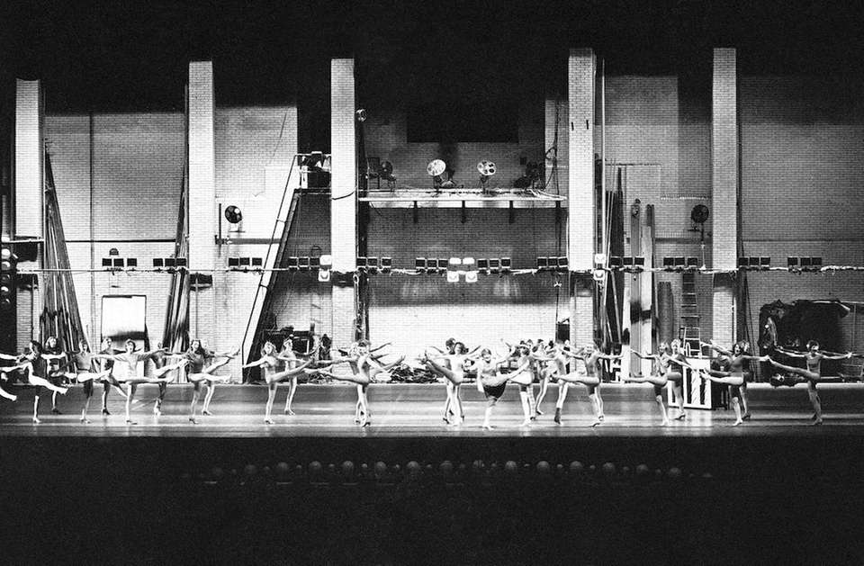 The Rockettes perform a number depicting a backstage