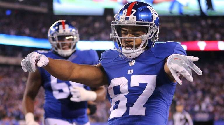 Giants wide receiver Sterling Shepard celebrates after scoring