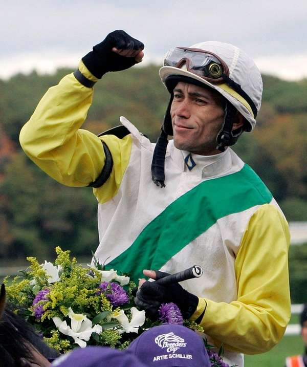Jockey Garrett Gomez reacts aboard Artie Schiller, after