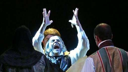 Jeffrey Sanzel plays Ebenezer Scrooge in