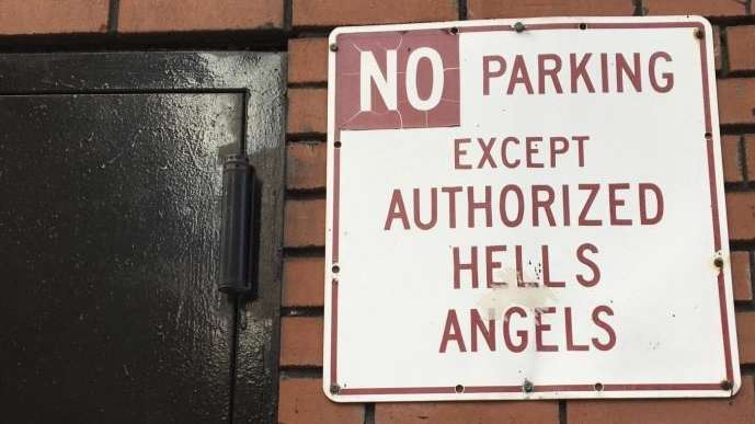 A sign near the front door of the