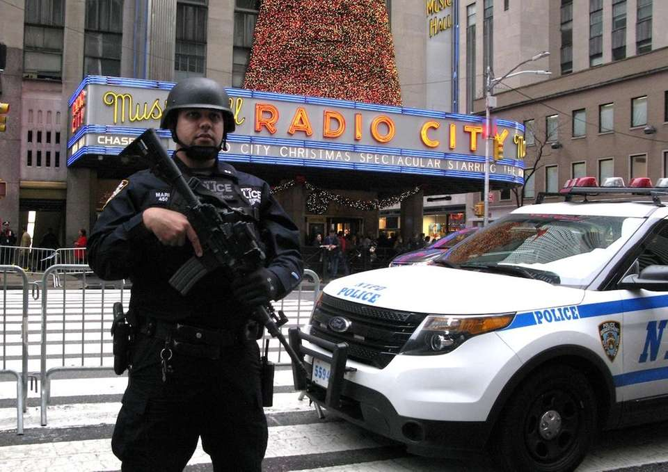 An NYPD officer on guard near Radio City