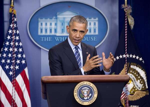 President Barack Obama speaks during a year-end news