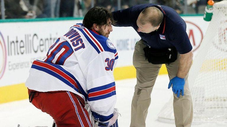 Rangers goalie Henrik Lundqvist is examined Thursday night