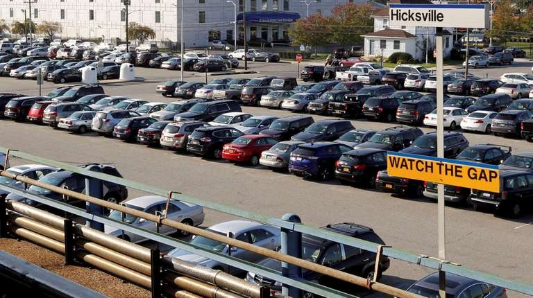 Vehicles fill the lot at the Hicksville LIRR