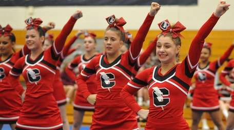 The Connetquot cheerleaders perform during an invitational competition