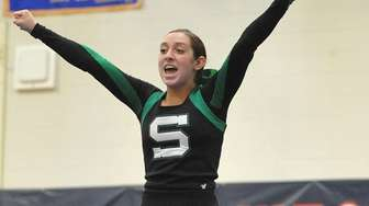 Anna Gagliano and the Seaford cheerleaders perform during