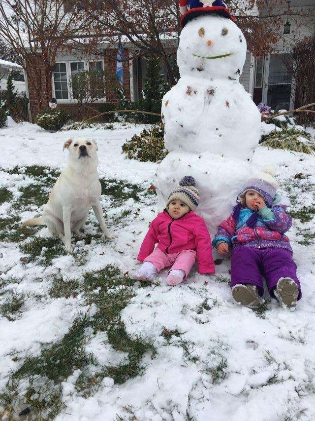 Aubrey, Avery and Opie with there snowman