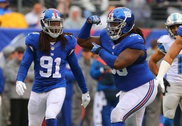 Damon Harrison of the New York Giants celebrates