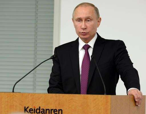 Russian President Vladimir Putin speaks to business leaders