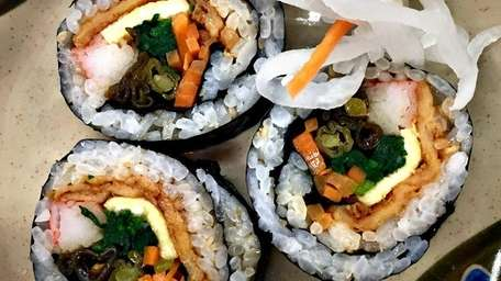 Bulgogi, spicy pork, fried shrimp, kimchi and vegetarian