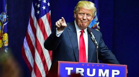 Donald Trump's April rally at Grumman Studios in