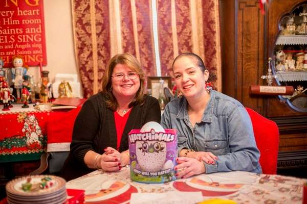 Maureen Phillips, left, had an extra Hatchimal and