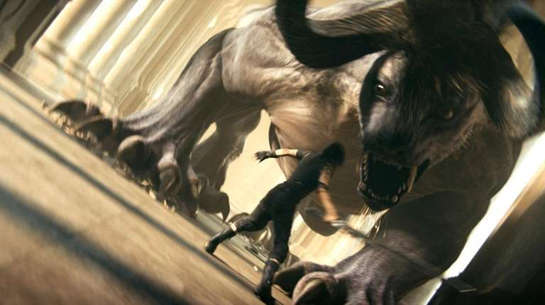 Confronting a monster in Final Fantasy XV.