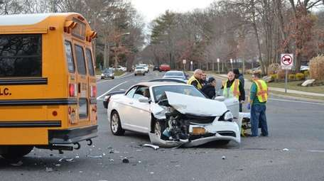 A car and schoolbus were involved in a