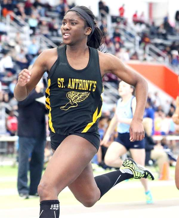 St. Anthony's Halle Hazzard wins the girl's 55-meter