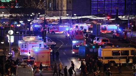 A truck plowed into a crowded Christmas market