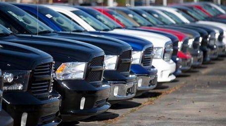 Ram pickup trucks are on display on the