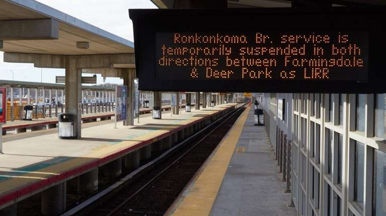 A sign at the Ronkonkoma train station Tuesday