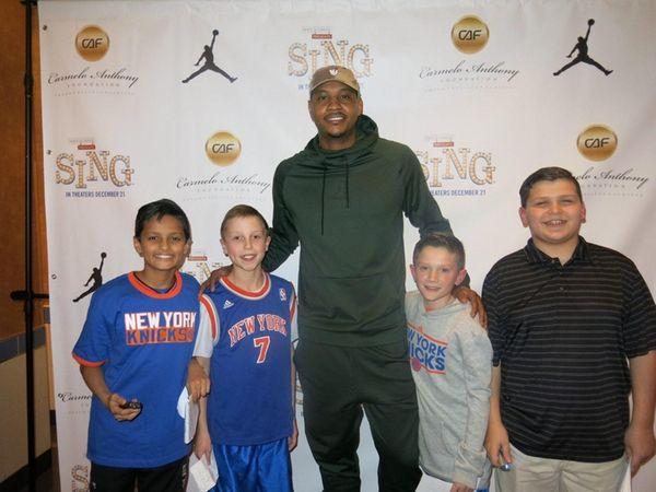 New York Knicks forward Carmelo Anthony with Kidsday