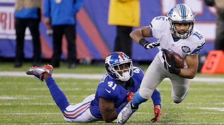 New York Giants cornerback Dominique Rodgers-Cromartie tackles Detroit