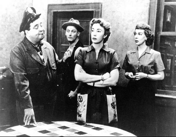 Jackie Gleasonl, left, Art Carney, Audrey Meadows and