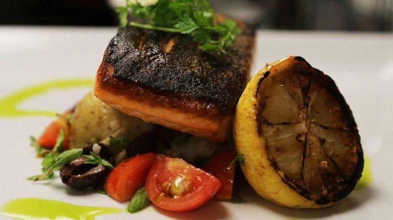 Roast salmon with Yukon Gold potatoes, Kalamata olives