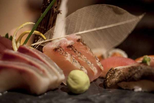 An artful platter of sushi and sashimi is