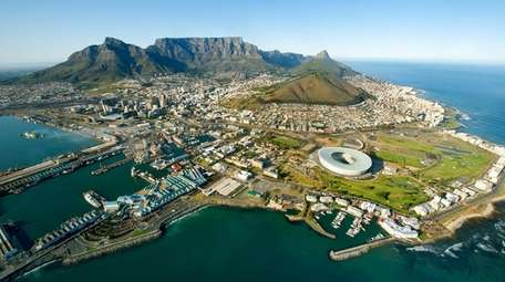 An aerial view of Cape Town, South Africa,