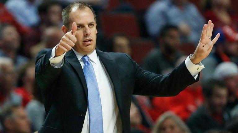 Orlando Magic head coach Frank Vogel directs his
