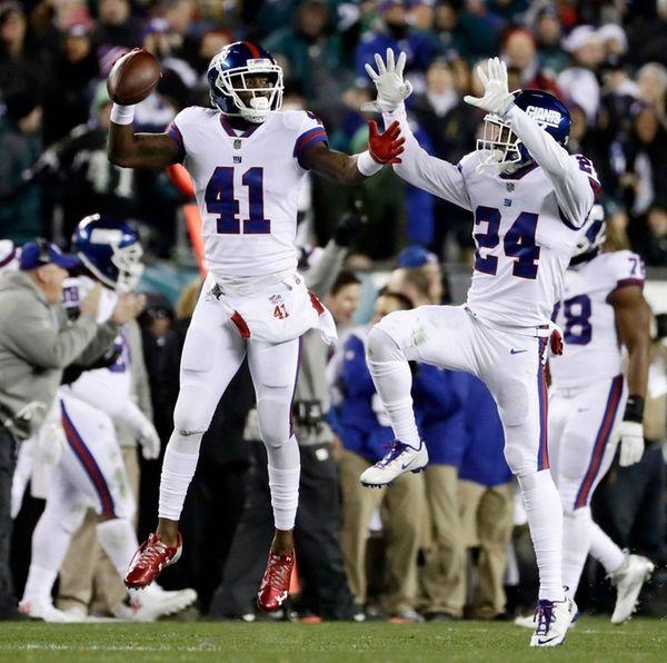 New York Giants' Dominique Rodgers-Cromartie (41) and Eli