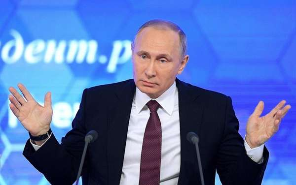 Russian President Vladimir Putin speaks during his annual