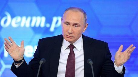 Russian President Vladimir Putin speaks during his annual