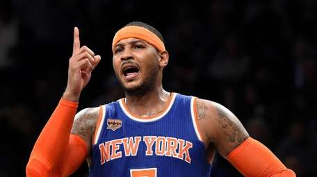 Carmelo Anthony reacts during the second half